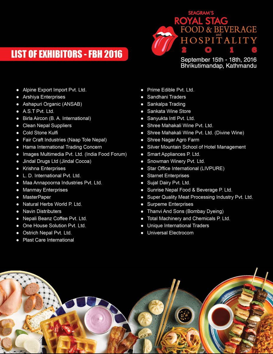 List Of Exhibitors - 2016-Food & Beverage Hospitality